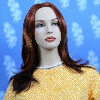 Long Straight Copper Red Wig and Blonde Highlights D1583