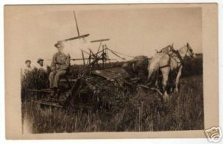 Horse Drawn Farm Equipment Real Photo Postcard CA 1910