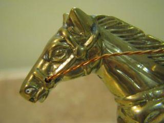 RACE HORSE & JOCKEY Brass Sculpture Marble Base STATUE/ART/FIGURE