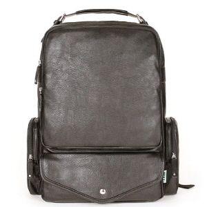 Herz Backpack 15 Laptop School Bag 2 Color Black Brown PU Leather
