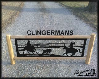 Rodeo Roping Horse Sign Equestrian Gifts Performance Horses Log Signs