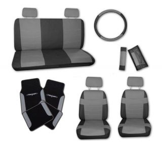 Superior Faux Leather Grey Blk Car Seat Covers Set w Grey Tattoo Floor