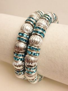 Silver Rhinestone Bracelet Friendship Honesty Macrame Beads