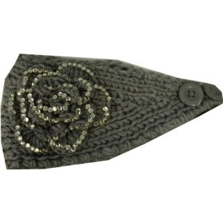 Headwrap Winter Gray Soft Crochet Headband Flower Rhinestone Knit Ear