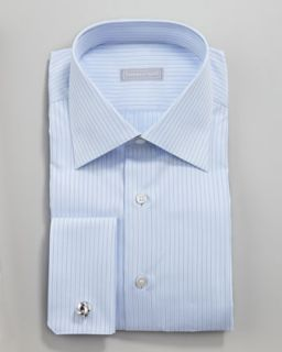 N1VCQ Stefano Ricci Pinstripe Dress Shirt, Light Blue
