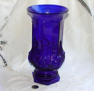 Tiara Cobalt Blue Glass Queen Anne VASE, 10 Tall