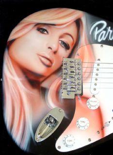 Paris Hilton Autographed Airbrush Guitar PSA DNA Video Proof UACC RD