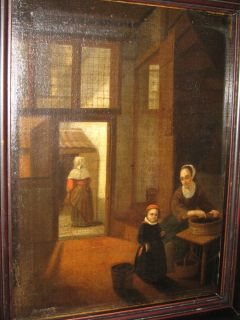 OLD MASTER OIL PAINTING Manner of Pieter de Hooch 1629 1684 Golden Age