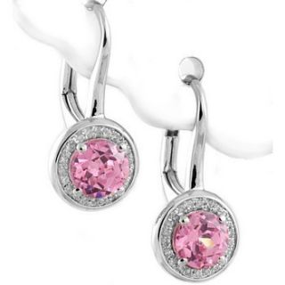 Hot Pink Quartz Diamond 14k White Gold Leverback Drop Dangle Earrings