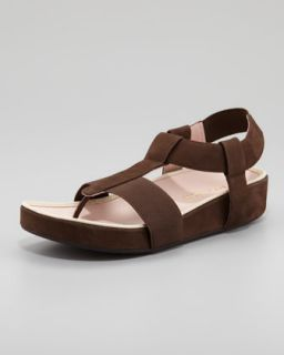 X1FZD Taryn Rose Elastic Leather Thong Sandal, Teak Brown