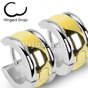 Steel Hoop Earrings Wide Two Tone Gold Plate Center Hinged Snap