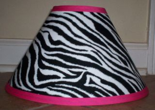 Lamp Shade Made with Pottery Barn Teen Black White Fabric Hot Pink