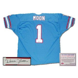 Warren Moon Autographed/Hand Signed Blue Jersey