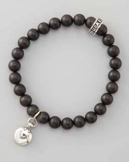 M050S King Baby Studio Crowned Heart Onyx Bead Bracelet