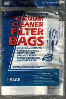 Hoover Vacuum Cleaner Filter Bags Style F G Eureka  Kenmore 5062