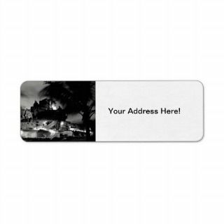 Aircraft Carrier USS Oriskany at Dusk Return Address Label