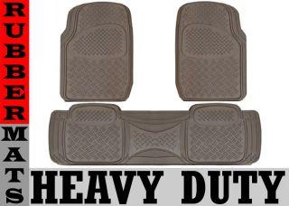 Heavy Duty All Weather Black Mat 3 PC Pads Liner Car Rubber Floor Mats