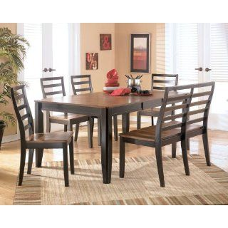 Table Dining Set by Ashley   Two Toned (D367 35 SET2)