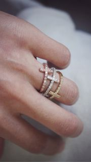 CZ Sideways Cross Ring White Gold Plated Horizontal Side Cross Jewelry