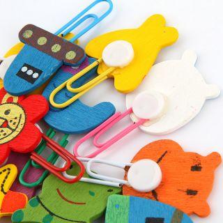 Wooden Note Office Paper Bent Needle Clip School Supplies Study