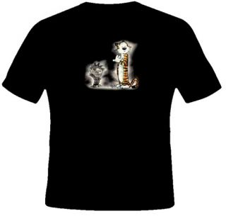 Calvin and Hobbes Funny Cartoon Character Black T Shirt