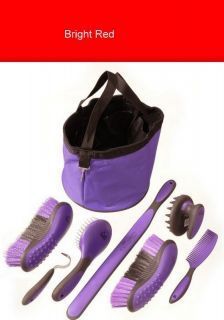 Grips Red 8 Piece Grooming Kit with Tote Bag Horse Tack Equine