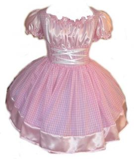Adult Baby Sissy Pink Gingham Swiss Maid Dress Crossdresser Custom
