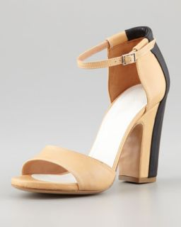 X1HBT Maison Martin Margiela Trompe lOeil Leather Sandal, Cream/Black