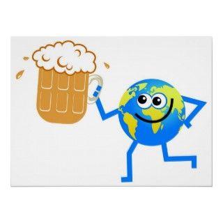 Cartoon world globe man having a pint of beer.