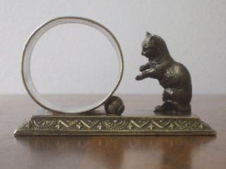 Babcock Silver Plate Figural Cat Napkin Ring Holder