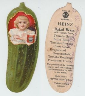 Victorian Trade Card Die Cut Pickle for Heinz Tomato Soup