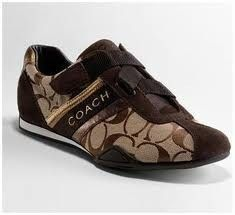 Coach Khaki Signature Jacquard Brown Suede Gold Womens Jenny Sneakers