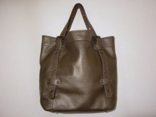 Steven Steve Madden Pewter Gunmetal Metallic Solid Leather Tote