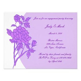Purple Flower Custom Engagement Party Invitation