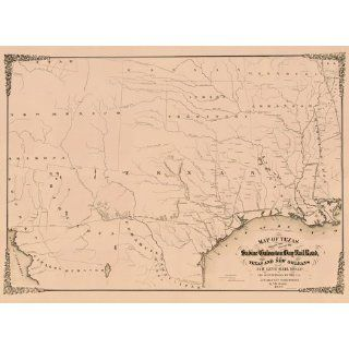 Reproduction of an 1859 Map of the Sabine & Galveston Bay