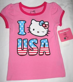 Girls 4 Hello Kitty Glittery Patriotic T Shirt