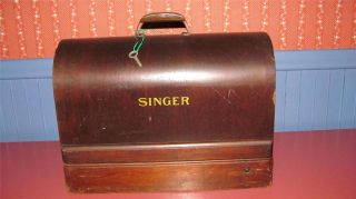Vtg Portable Singer Sewing Machine Case Bent Wood Full Size w Key