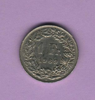 1969 1 Fr Franc Switzerland Helvetia Coin