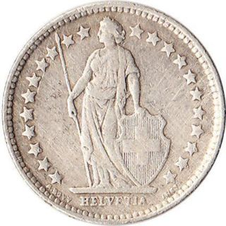 1920 B Switzerland 1 2 Franc Silver Coin Helvetia KM 23