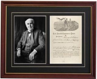Thomas Alva Edison Light Bulb Patent Document Autograph