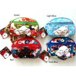 Color (Green) Very Cute Lucky Cat Face Large Cellphone Bag