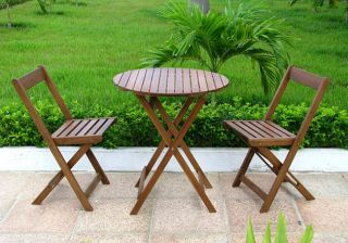 Wood Stained Teak Bistro Set Table Chairs Furniture Home Garden Patio