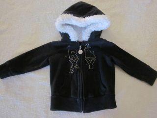 EUC Infant Girls Roxy Jacket Fleece Hoodie Black w Silver stitching 12