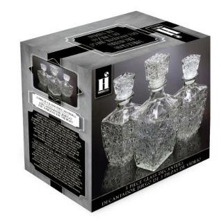 Housewares International 3 Piece Diamond Cut Glass Decanter Set