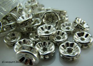 100pcs Jewelry Design Repair Crystal Rondelle Spacer Beads 6mm Silver