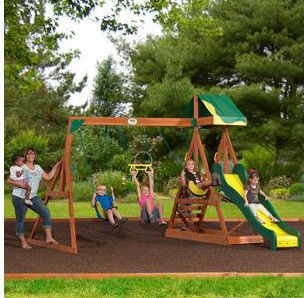 Childrens Backyard Wooden Swing Set Play Outside Gym Slide Kids Patio