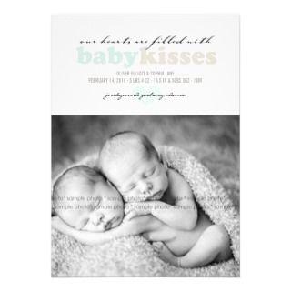 Blue Whale Baby Boy Photo Birth Announcement