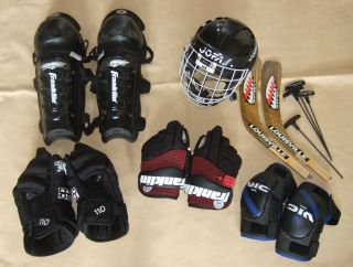 Ice Hockey Gear LOT Jofa helmet 390 blades gloves knee elbow pads mask