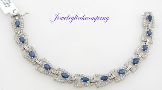 White Gold Ladies Diamonds and Sapphires Bracelet Gem Weight 10.30 cts
