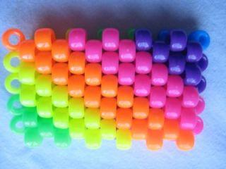 Mystery Rainbow Cuff Kandi Bracelet Pony Beads Neon Glow in Dark Kandy